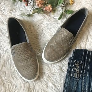 Sperry tan leather woven slip ons